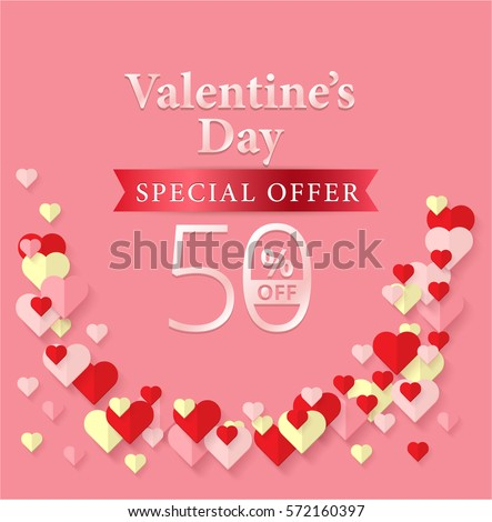 Valentines Day Special Offer 50 Off Stock Vector 572160397 ...