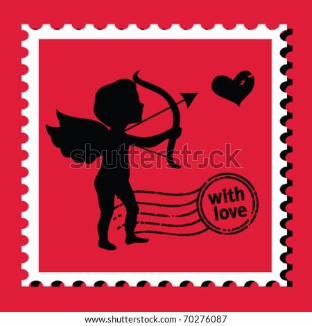 valentine's day stamp - stock vector