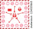 Valentine's Day stamps, badges and patterns - stock photo