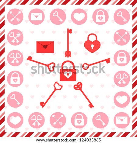 Valentine's Day stamps, badges and patterns - stock vector