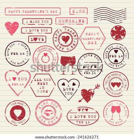Valentine's Day stamps set - stock vector