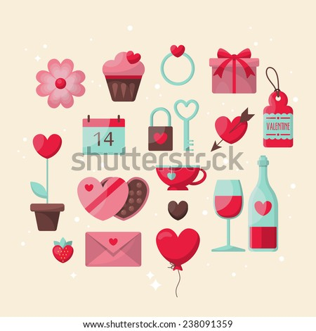 Valentine's day stylish icons design - stock vector