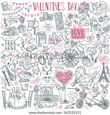 Valentine's Day theme doodle set. Traditional romantic symbols: heart shapes, cupid, arrows, gift box, desserts, doves, swans, restaurant table, champagne, love letters. Freehand vector drawing.