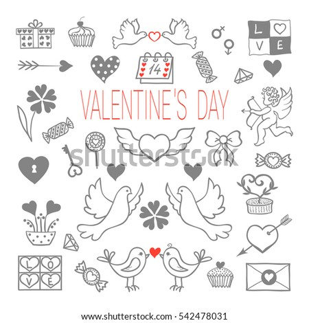 Valentine's Day theme symbols set: padlock and key, calendar, diamond, candies, bow, flowers, heart shapes, cupid, arrows, gift box, desserts, doves, love letters, birds.