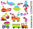 Valentine's Day Themed Cartoon Transportation Set - stock vector