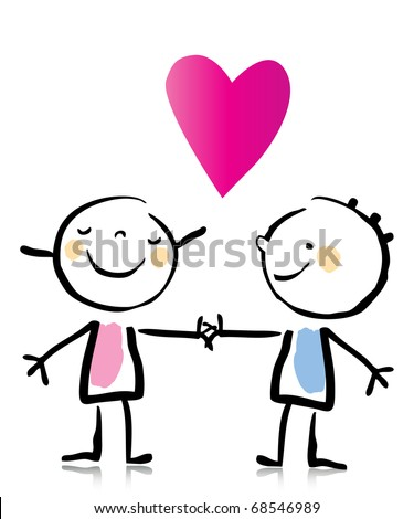 Valentine's Day two people in love holding hands, cartoon children's drawing style series. see more images related