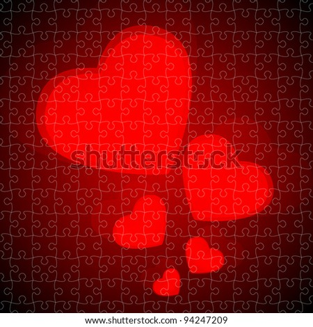 Valentine's Day Vector Background puzzle jigsaw - stock vector