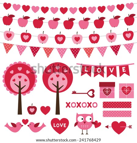 Valentine's Day vector design elements set - stock vector