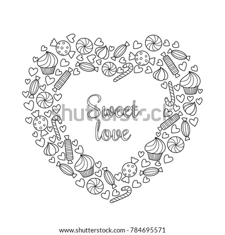 Valentines Day Vector Doodle Coloring Book Stock Vector 784695571 ...