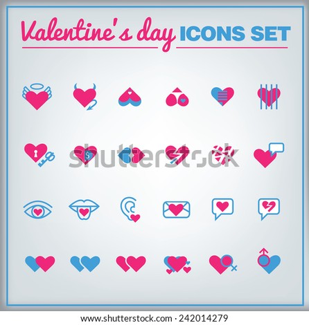 Valentine's day vector icon set with hearts - stock vector
