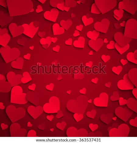 Valentine's day vector illustration, background with red paper hearts