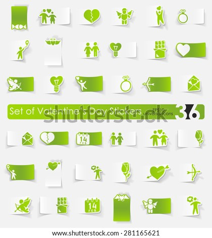 Valentine's Day vector sticker icons with shadow. Paper cut