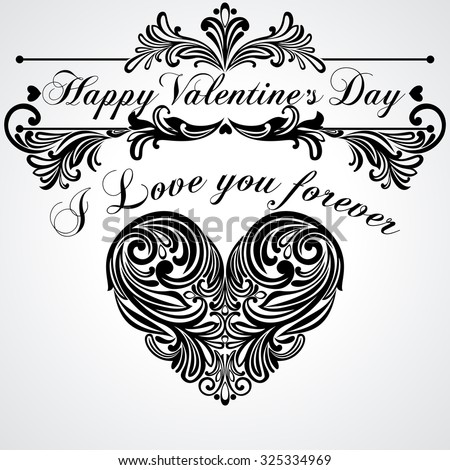 Valentine's Day vintage greeting card.  Black and White color. Vector Version. - stock vector