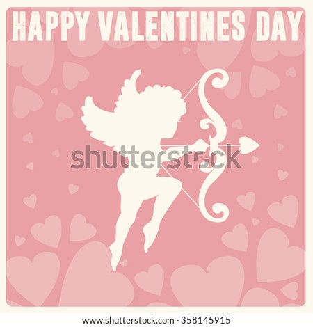 Valentine's Day vintage greeting card. Cupid angel with wings, bow, heart, arrow on pink background. Love vector illustration - stock vector