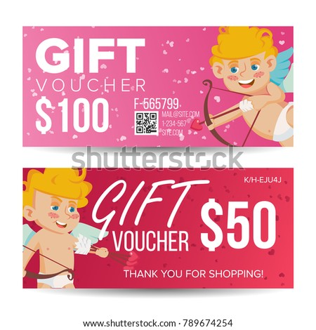 Valentines day voucher template vector horizontal stock vector valentines day voucher template vector horizontal free card february 14 valentine cupid and yadclub Choice Image