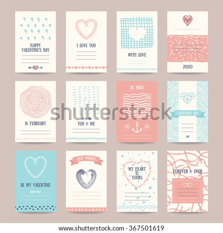 Valentine's day, wedding invitation, romantic love cards. Hipster templates collection with hand drawn textures, brush strokes, heart symbols, declaration of love. Isolated vector set. - stock vector