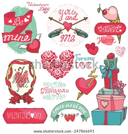 Valentine`s day,wedding,love,romantic elements collection.Labels,badges,emblems,ribbon,frame,arrows,headline.Cute Doodle hand drawing decor set.Vintage vector,retro - stock vector