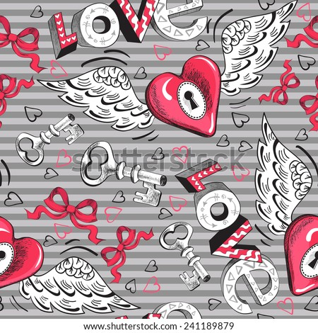 Valentine's Day winged heart seamless pattern - stock vector