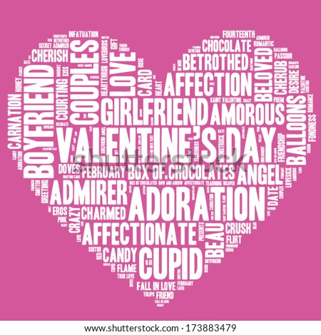 Valentine's Day word cloud concept including terms such as love, romance, kiss, boyfriend, girlfriend, Cupid and others in the shape of a heart, white letters on pink background  - stock vector