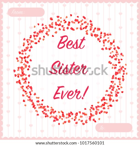 Valentines greeting best sister ever red stock vector 1017560101 valentines greeting best sister ever red soft hearts card designctor illustration m4hsunfo Choice Image