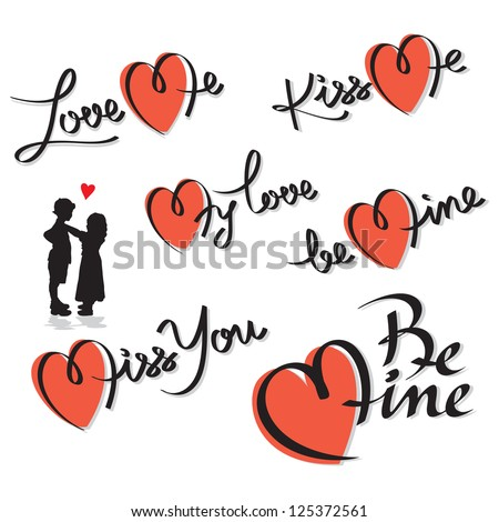 valentine's hand lettering set; scalable and editable vector illustration; - stock vector