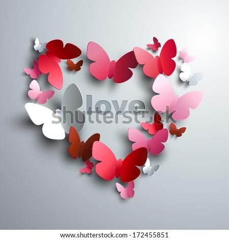 Valentine's Heart of butterflies - concept of love  - stock vector
