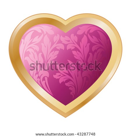 Valentine's heart with floral isolated on white background - stock vector