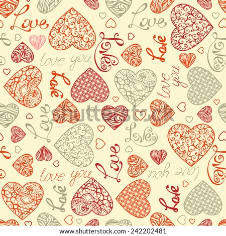 Valentine's seamless pattern. Vintage hearts and text on light background. Vector element for your Valentine's design.  - stock vector