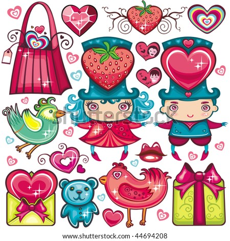Valentine's set of design elements