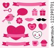 Valentine's vector design elements set - stock vector