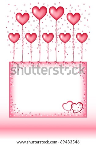 Valentine's vector illustration, balloons in the form of heart. EPS8, all parts closed, possibility to edit. - stock vector