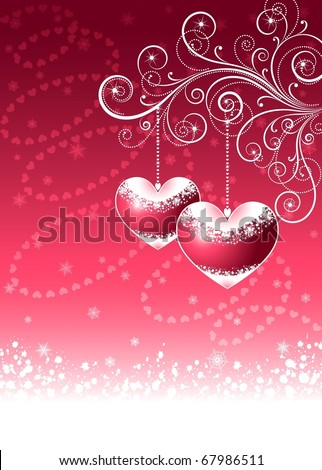Valentine's vector illustration, Christmas background. EPS8, all parts closed, possibility to edit. - stock vector