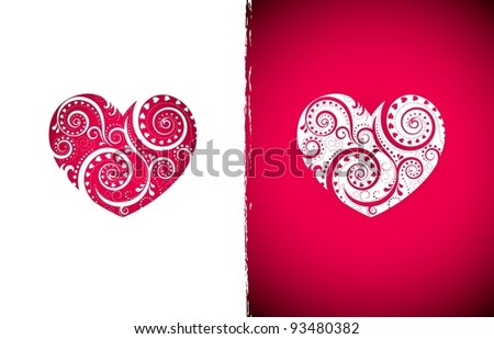 Valentine's vector illustration, two hearts, floral ornament in the form of heart. EPS8, all parts closed, possibility to edit. - stock vector
