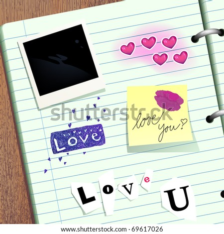 Valentine scrapbook with frame for Your picture - stock vector