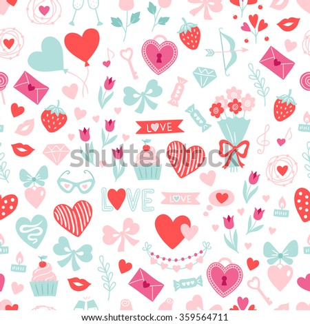 Valentine seamless pattern with balloon, cupcake, candle, tulips, bows, champagne, lock, key, glasses, hearts, bouquet, love letter, notes, dream, wreath, ribbons, strawberry, garland, arrow, candy - stock vector