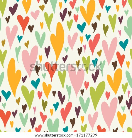 Valentine seamless pattern with bright colorful hearts. 14 February. Valentine's Day background. - stock vector