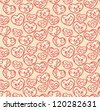 Valentine seamless wallpaper with ornate hearts - stock vector