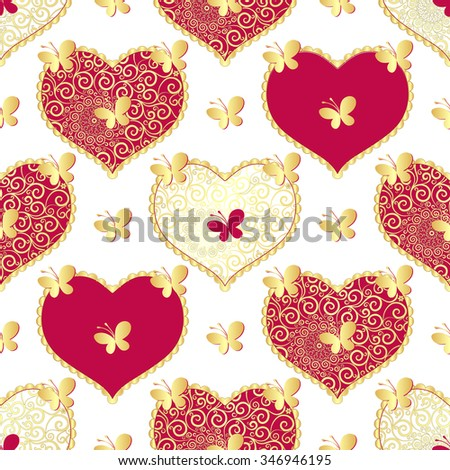 Valentine seamless white pattern with gold butterflies and purple lacy hearts (vector) - stock vector