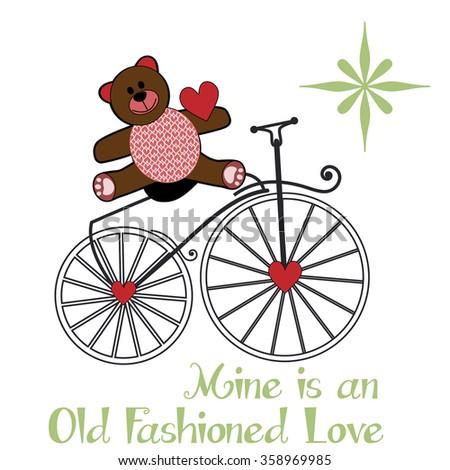 Valentine teddy-bear sitting on an old fashion bike - heart pattern on its tummy  - stock vector