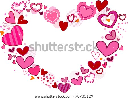 Valentine-themed Frame Featuring Hearts of Different Sizes and Designs - stock vector