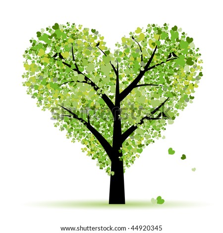 Valentine tree, love, leaf from hearts - stock vector