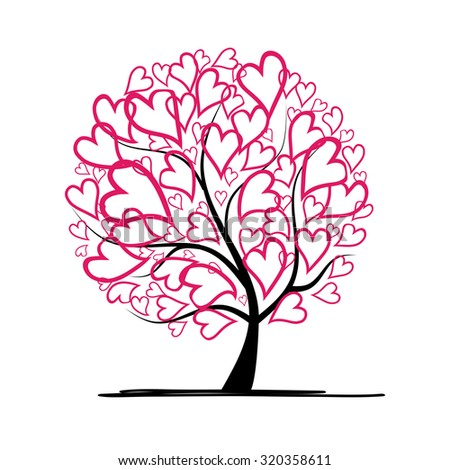 Valentine tree, love, leaf from hearts. Vector illustration - stock vector