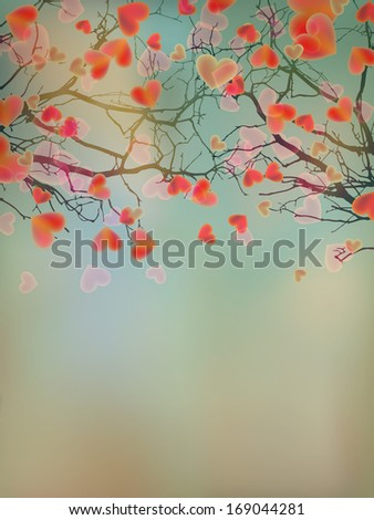 Valentine tree with hearts. And also includes EPS 10 vector - stock vector
