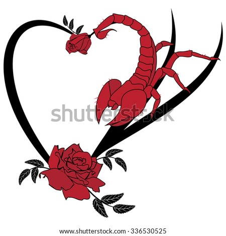 valentine vector frame with roses and scorpion - stock vector