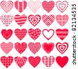 Valentine vector heart, love symbol, pattern, set pictogram - stock vector