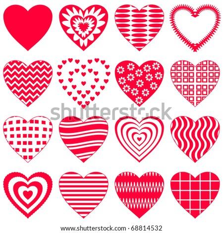 Valentine vector heart, love symbol, pattern, set pictogram - stock vector