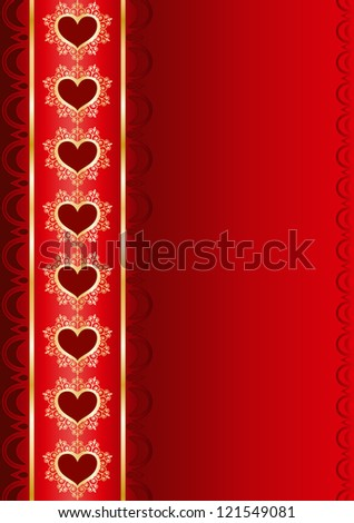 Valentine vertical background with a ribbon - stock vector