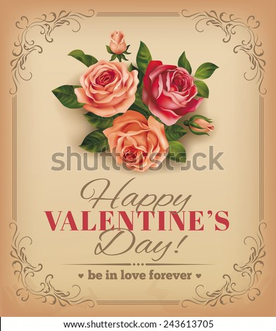 Valentine vintage card with rose bouquet. Vector eps 10. - stock vector