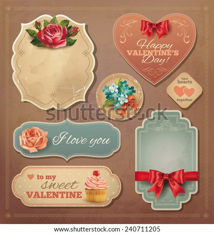 Valentine vintage cards set. Vector eps 10. - stock vector