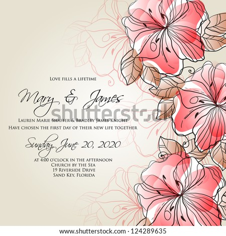 Valentine . Wedding card or invitation with abstract floral background. Greeting postcard in grunge or retro vector Elegance pattern with flowers roses floral illustration vintage style